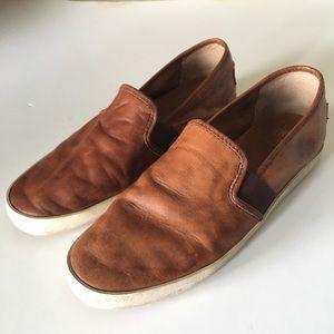 FRYE // Dylan leather slip on sneakers cognac 8.5M